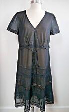 NEW AKRIS Punto black lightweight cotton pintuck and eyelet detail dress size 12