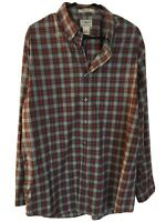 LL Bean Mens Wrinkle Resistant LS Button Down Red&Gray Plaid Dress Shirt Large