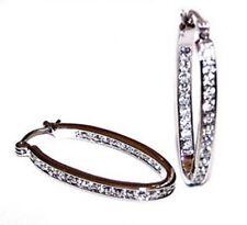 NEW! Silver Tone Crystal Oval Hoop Earrings