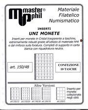 Master Phil Confezione 10 fogli per contenere monete formato UNI  da 48 spazi