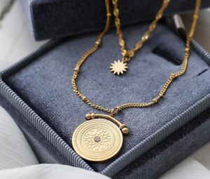 Gold Plated Titanium Stainless Steel Baroque Sun Gold Coin Double Chain Necklace