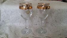 2 Wine Glasses Crystal Clear w/ Gold Trim & Round Gold Design Made in Turkiye