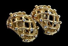 Vtg CHRISTIAN DIOR Chunky Caged Weave Goldplated Rhinestone Clip EARRINGS