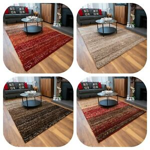 Shaggy Rugs for Living Room | Super Soft Red Beige Striped Area Rug | Deep Pile