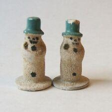"2 Vintage German Putz Mini Snowmen 1.25"" Green Top Hat Christmas Figurines"
