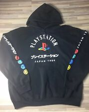 PlayStation Brand Japanese Print 1994 Men's Size LARGE Pullover Black Hoody NEW