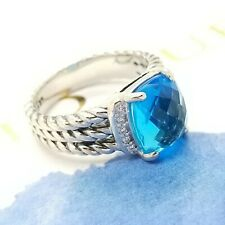 David Yurman Petite Wheaton Sterling Silver Diamond & Blue Topaz Size 6 Ring
