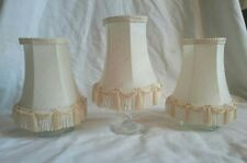Vintage Set Of 3 Small Cream Light Lamp Shades Tapered Fabric Tassles Clip On