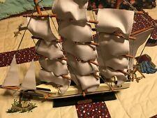 "Whaling Ship Clipper 1846 Nautical Wooden Decor Ship 15"" H x 15 L"" Lot#040061919"