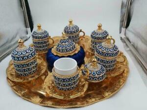 Luxury Coffee Set Home Arabic Greek Turkish Kitchen Evil Eye Total Handmade