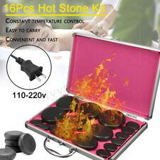 16Pcs Hot Massage Stone + Massager Box Volcanic Stones Kit Rock Oiled SPA
