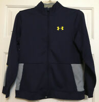 Under Armour youth size L navy gray zip up jacket boys