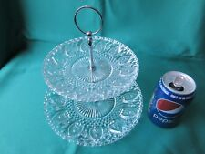 2 Tier Glass Cake Stand - clear pressed glass plates and chrome coloured handle