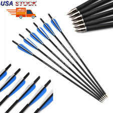 "Us 12Pcs 22"" Archery Carbon Arrows 8.8mm W/Replacable Tips for Crossbow Hunting"