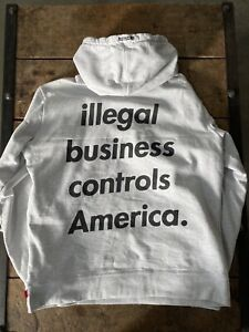 Supreme Illegal Business Controls America Hoodie Heather Gray Xl Condition 9/10