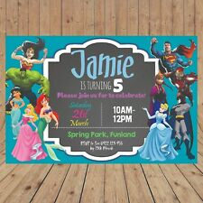 Personalised SUPERHERO PRINCESS Kid Party Birthday Invitations DIGITAL YOU PRINT