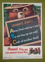 Vintage 1962 Smokey Bear A-B-C Please!Only You can prevent Forest Fires Poster