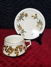 Hammersley English Cup & Saucer Hand Painted Gold Leaves/ Flowers .Rd 90375