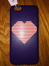 NWT J Crew iPhone 6 Cover Case Skin Bumper Navy Red White Stripe Heart