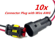 10kit 2 Pin Way Car Electrical Cable Connector Plug with Wire AWG