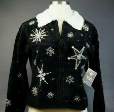 NEW! Christopher Radko Christmas Cardigan Sweater Black Orig. $199.99 Medium