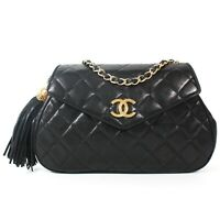 Chanel - Small Tassel CC Flap Shoulder Bag - Black Gold Logo - Quilted Charm