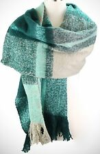 Teal and Multi Colored Plaid Oversize Blanket Fashion Scarf