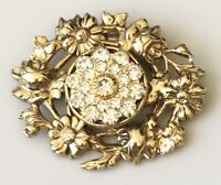 Vintage Flower  Scarf Clip Holder Gold Tone Metal