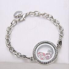 Magnetic Silver Crystal Glass Living Memory Locket Bracelet For Floating Charms