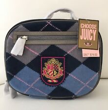 New! JUICY COUTURE Kids School Insulated Lunch Bag Box Check Navy Blue Pink RARE