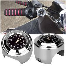 """7/8"""" Universelle Moto Montre Horloge de Guidon lueur Thermomètre Etanche FR"""