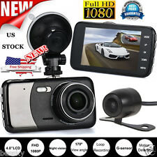 Dual Lens Camera 1080P Car DVR Vehicle Video Dash Cam Recorder G-Sensor 4'' inch