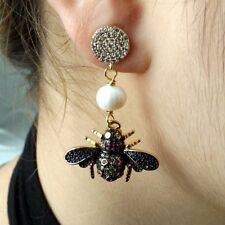 White Pearl Mixed Color Insect CZ Stud Earrings
