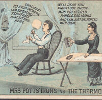 Mrs Potts Iron 1800's Trivet Victorian Housewife vs Husband Troy NY Trade Card