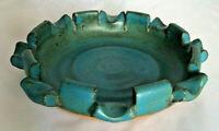 "Frank Matranga blue ceramic ashtray 6.5"" pottery signed studio vintage handcraft"