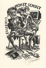 Frank Ivo van DAMME Girl Phone Sex Exlibris Schult Erotic X2 Wood Engraving #351