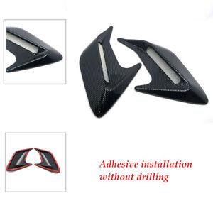 2× Carbon Fiber Color Car Hood Air Flow Fender Side Vent Sticker Easy to install