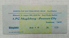 TICKET Eintrittskarte Europa Cup 1983 1.FC Magdeburg Swansea City Wales FCM DDR