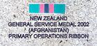 NZ GSM 2002 (AFGHANISTAN) RIBBON BAR 5X19MM ENAMEL & NICKEL PLATED PRIMARY OPS