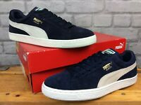 PUMA MENS UK 9 EU 43 SUEDE CLASSIC NAVY BLUE GREY WHITE TRAINERS LG