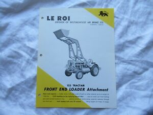Le Roi front loader specification sheet brochure Westinghouse