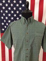vtg 90s Bugle Boy Green Paisley Shirt men's LARGE hipster boho Skater s/s 8541