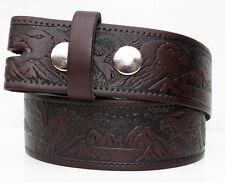 Brown Eagle Embossed Leather Belt - Snap Fastenings for Western Cowboy Buckles