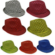 Checkered Fedora Hat - Trilby Fedora Hat Neon Color Checkered Design