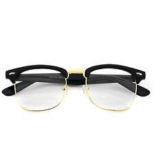 New Classic Clear Lens Clubmaster Wayfare Half Metal Frame Sunglasses BlackGold