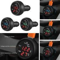 3 in 1 12/24V Car Auto LED Digital Voltmeter Gauge+Thermometer+USB Charger Part