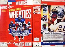 1992 Barry Sanders Wheaties Cereal Box  s122 Betty Crocker points tore off
