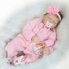 22'' Handmade Soft Full Silicone Vinyl Lifelike Reborn Baby Girl Doll Sleeping