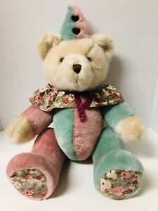 "VIntage 1991 DAKIN Plush Teddy Bear CLOWN Jointed Limbs Floral Pattern 24"" Tall"
