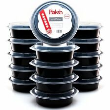 16 Plastic Meal Prep Food Containers Lid Microwave Safe 24oz Bowls BPA-Free NEW